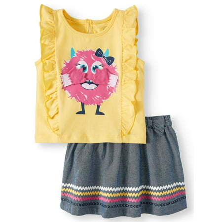 3-D Graphic Monster Ruffle Tank & Skirt, 2pc Outfit Set (Baby - Cookie Monster Outfit
