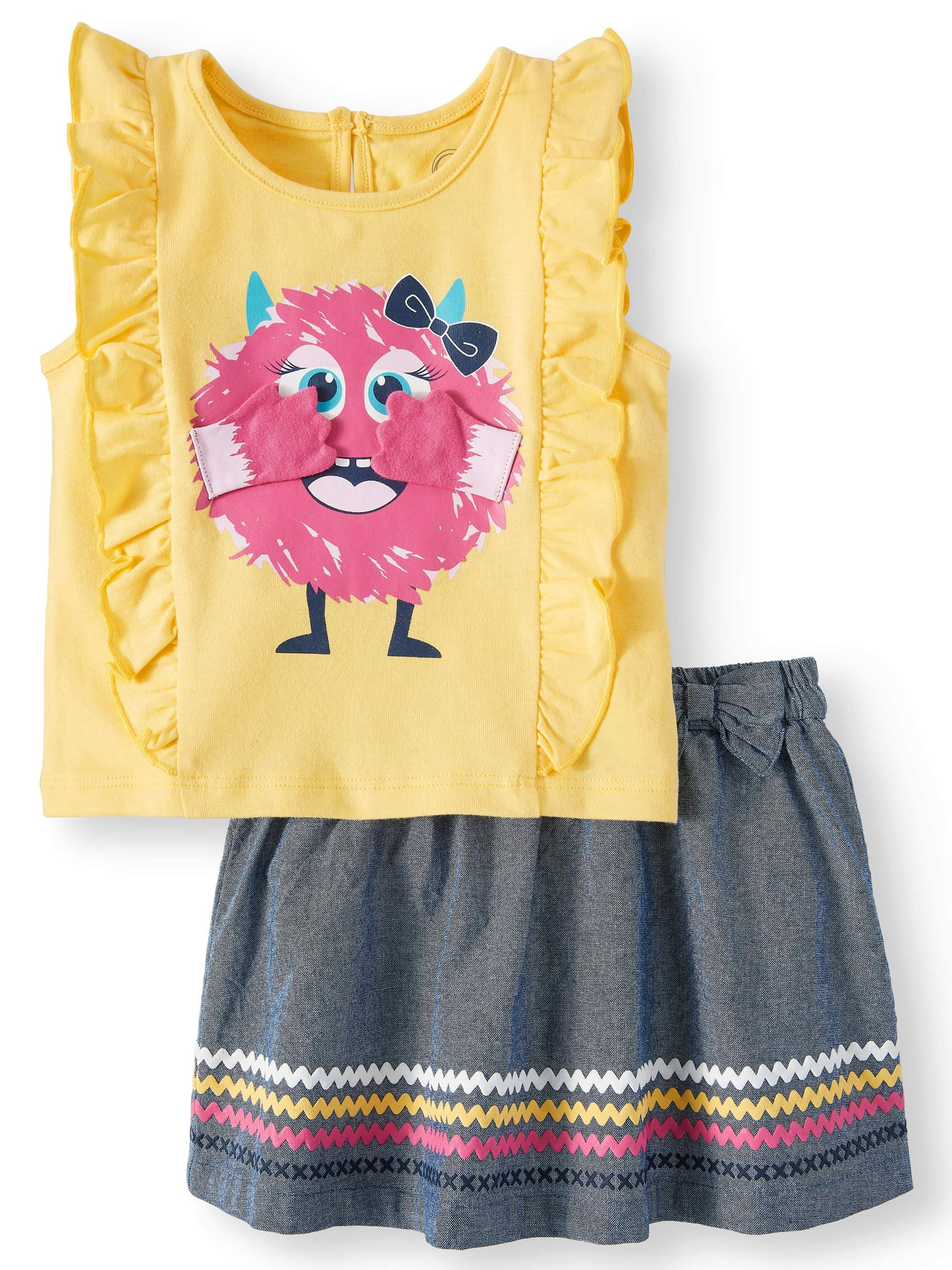 3-D Graphic Monster Ruffle Tank & Skirt, 2pc Outfit Set (Baby Girls)