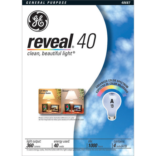 GE Lighting 48687 40-Watt A19 Reveal Bulbs, 4-Pack [Tools & Home Improvement]