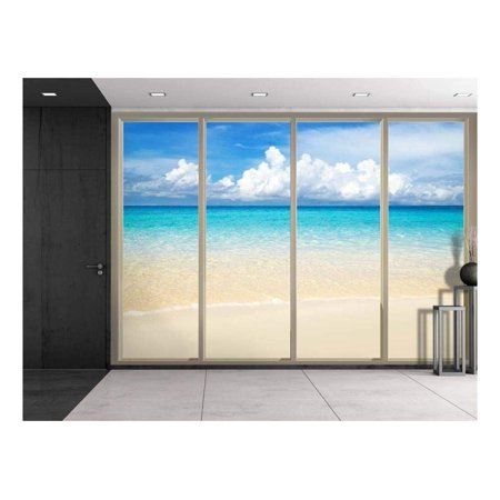 Wall26 - Clouds Over the Shore and Beach Viewed From Sliding Door - Creative Wall Mural, Peel and Stick Wallpaper, Home Decor - 66x96 inches (Beach Door Mural)