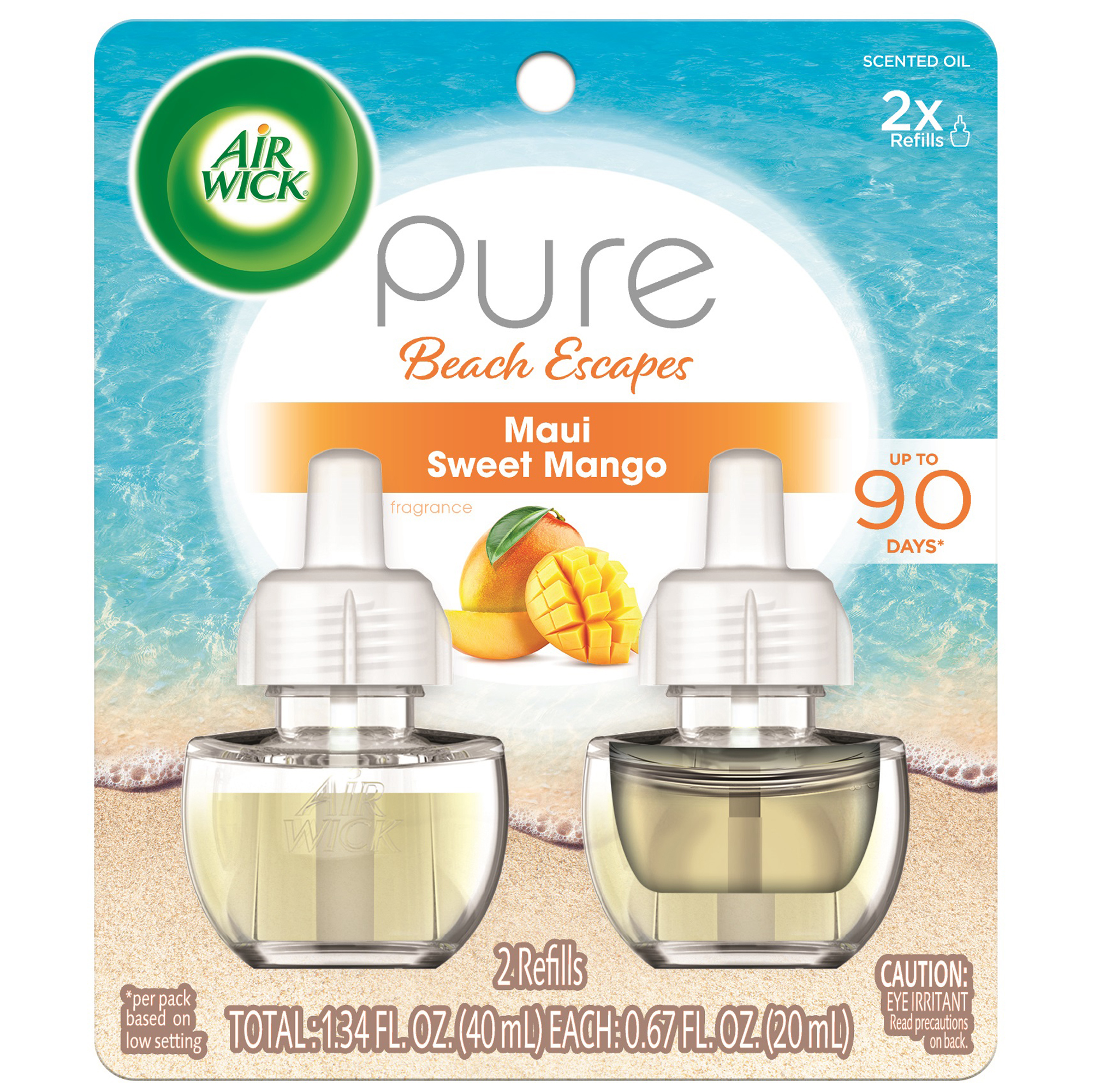 Air Wick Pure Scented Oil 2 Refills, Maui Sweet Mango, (2x0.67oz), Air Freshener