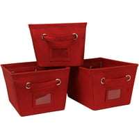 3 Pack Medium Canvas Bins-Red