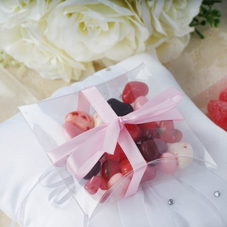 "BalsaCircle Clear 25 pcs 4"" Wedding Favors Pillow Boxes - Favor Boxes Party Candy Gifts Packaging Decorations Supplies"