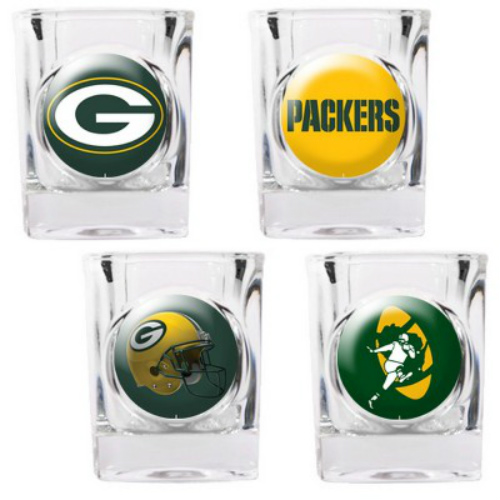 Great American Products Green Bay Packers Shot Glass Set 4pc Collectors Shot Glass Set