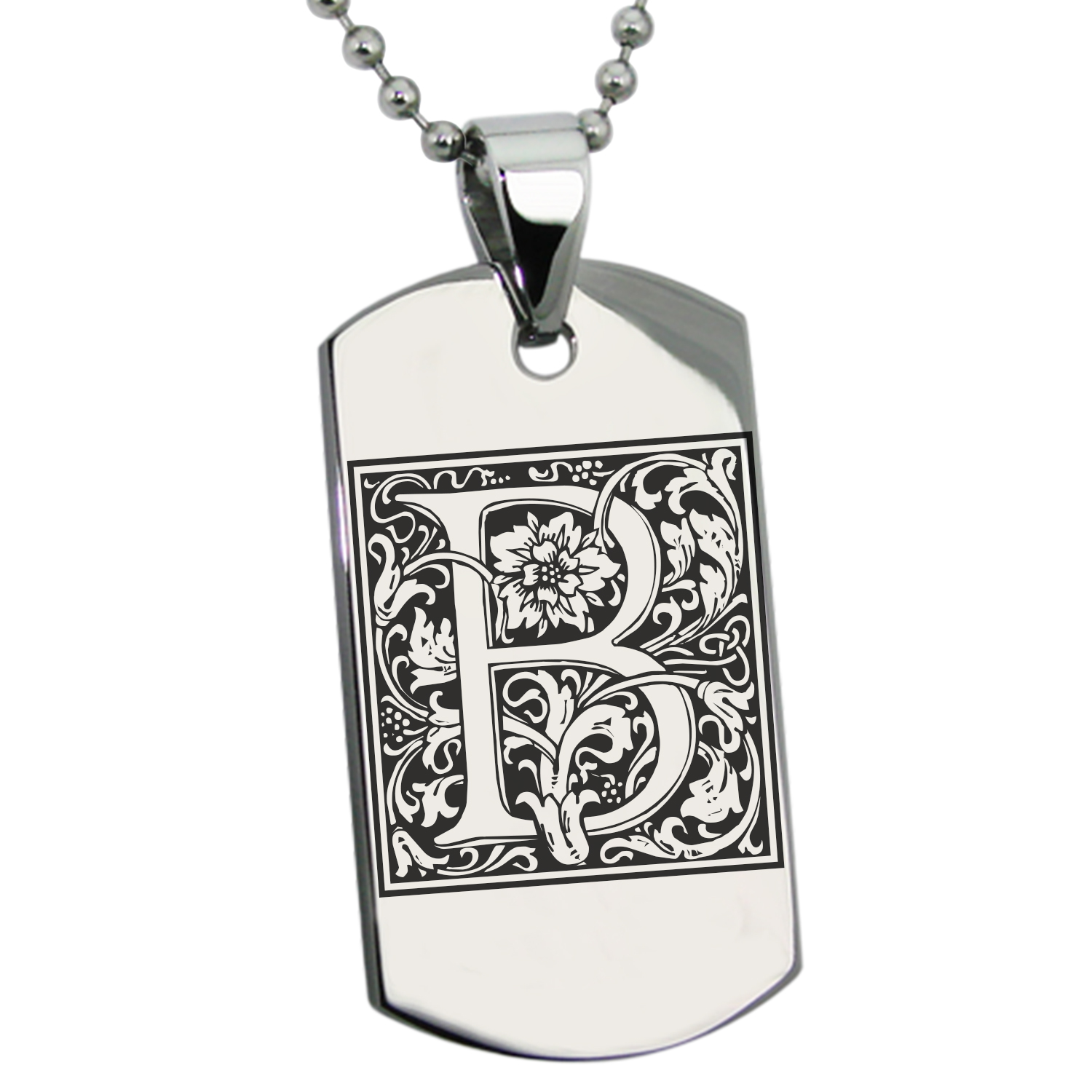 Stainless Steel Letter B Initial Floral Monogram Engraved Dog Tag Pendant