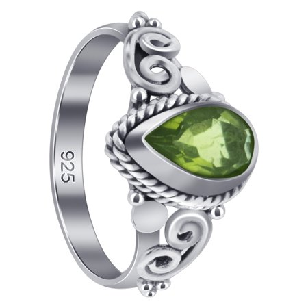 Gem Avenue 925 Sterling Silver Pear Peridot Gemstone Bali Women's Ring Size