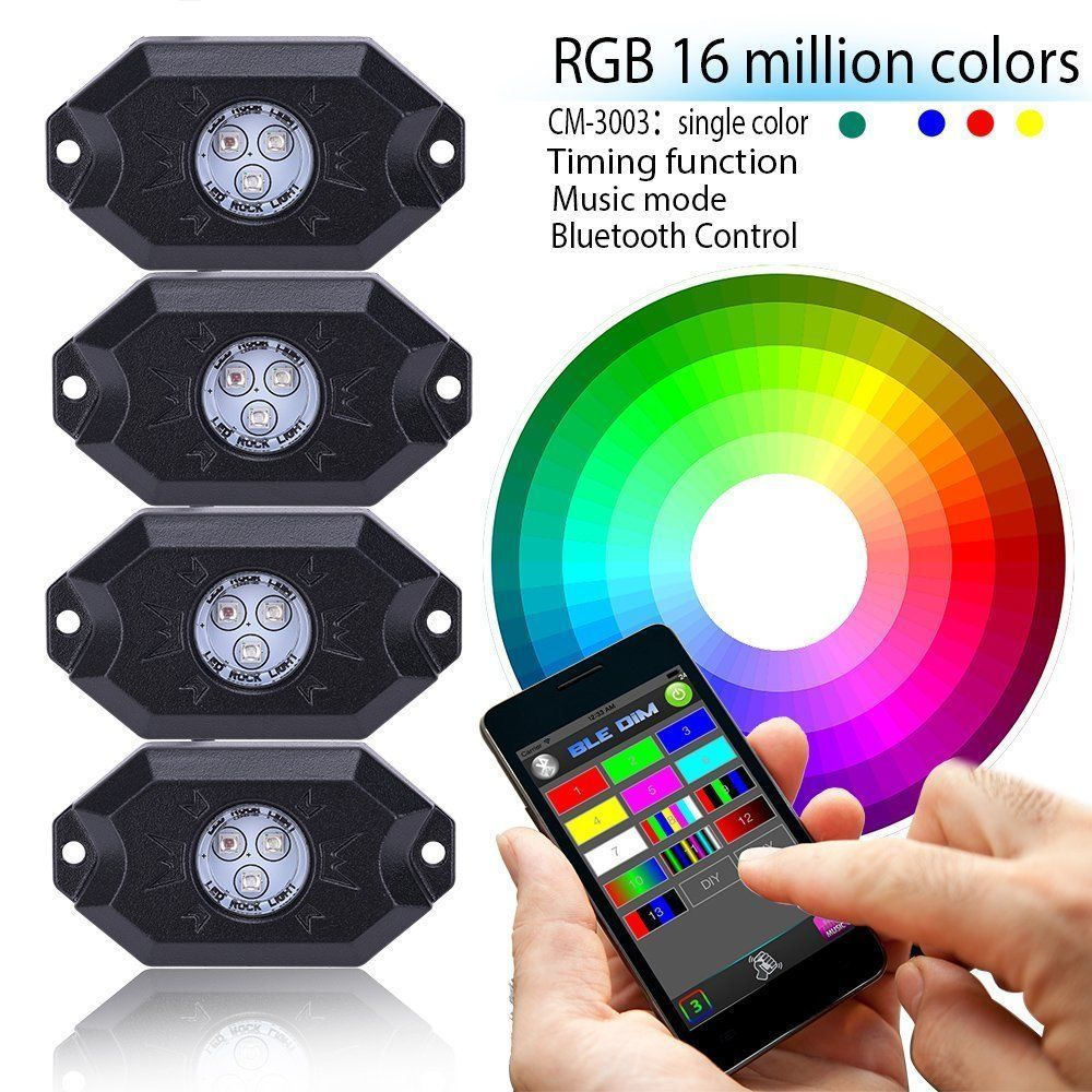LED4Everything (TM) 4PC RGB LED Multi-Color Offroad Rock Lights Wireless Music