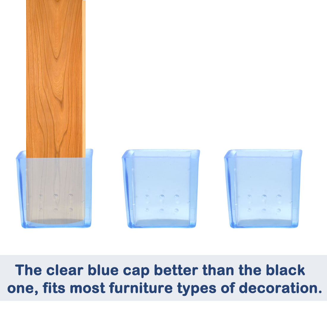 "Clear Blue Sofa Leg Caps End Tip Feet Furniture Protector 6pcs 0.39""x1.18"" (10x30mm) - image 4 of 7"