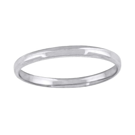 10k White Gold Mens Womens Unisex Wedding Band Regular Fit 2mm - Ring Size: 5 to 13