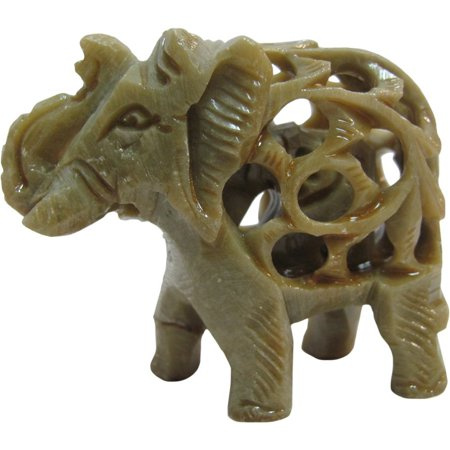 Figurine Handmade Sculpture - Collectable Handmade Soapstone Elephant with Baby Indian Carving Sculpture Figurine Statue 2.5
