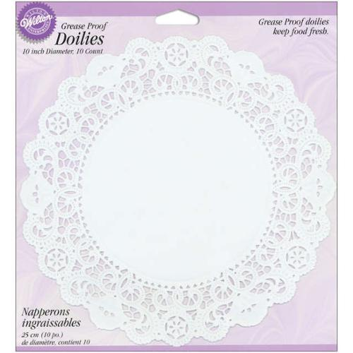 "Grease-Proof Doilies-10"" White Circle 10/Pkg"