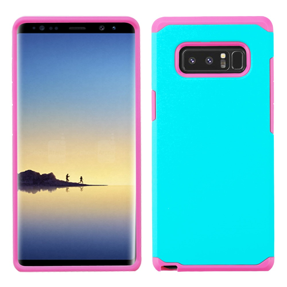 Kaleidio Case For Samsung Galaxy Note 8 [Astro Armor] Rugged Slim Fit [Shock Absorption] [Dual Layer] Hard Hybrid Cover w/ Overbrawn Prying Tool [Turquoise/Pink]