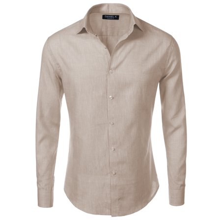Daniel K Men's Spread Collar Long Sleeve Linen Shirt Linen XXL