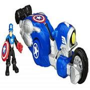 Playskool Heroes Marvel Super Hero Adventures Shield Bike Vehicle with Captain America Action Figure