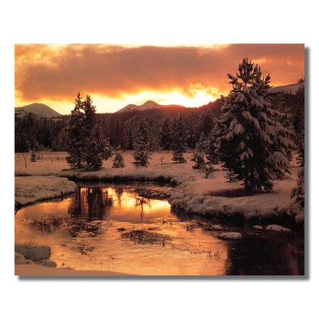 Lake Trees Snow Sunset Wall Picture Art Print