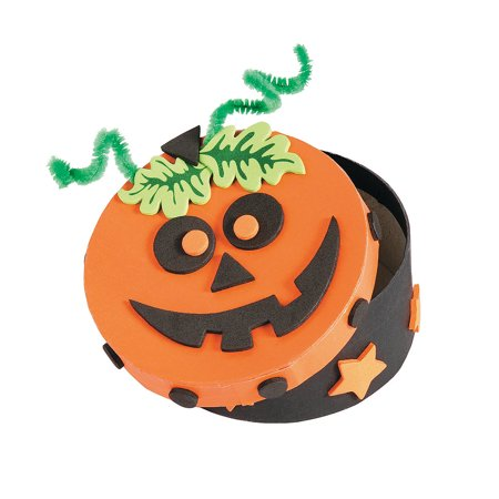 Fun Express - Halloween Pumpkin Boxes CK-12 for Halloween - Craft Kits - Home Decor Craft Kits - Containers - Halloween - 12 Pieces (Fun Easy Crafts For Halloween)