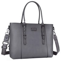 Mosiso Laptop Tote Bag (Up to 15.6 Inch) Water Resistant PU Leather Large Capacity Business Work Office Shoulder Briefcase Handbag Compatible MacBook & Notebook