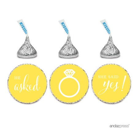 Yellow He Asked She Said Yes! Hershey´s Kisses Stickers, 216-Pack - She Said Yes Bridal