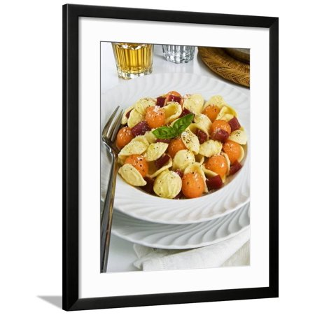 Orecchiette Pasta With Melon Ball, Prosciutto (Ham), Parmesan Cheese and Basil, Italy, Europe Framed Print Wall Art By Nico