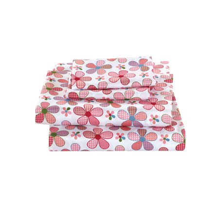 Fancy Linen 4pc Full Sheet Set Girls Flower Pink White Green Hot Pink New