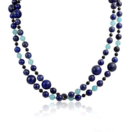 - Blue Shades Aqua Quartz Blue Lapis Black Onyx Gemstone Ball Bead Strand Pendant Long Warp Layer Necklace For Women 40 In