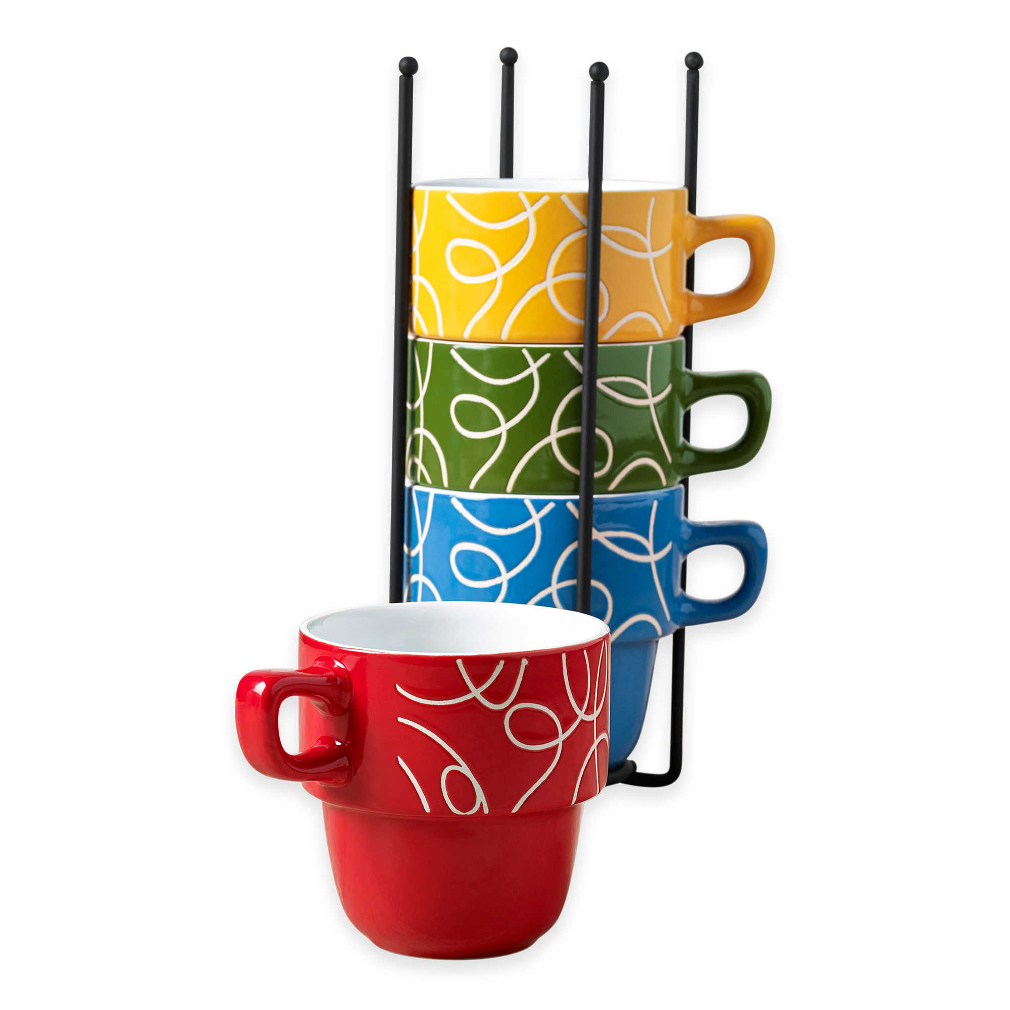 Ceramic 5 Pcs. Stacking Coffee Mug Set With Rack Mugs With Stand - Esto
