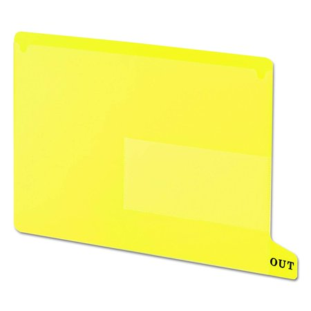 End Tab Poly Out Guide, Two Pocket, Bottom Position Tab, Letter Size, Yellow, 25 per Box (61956)