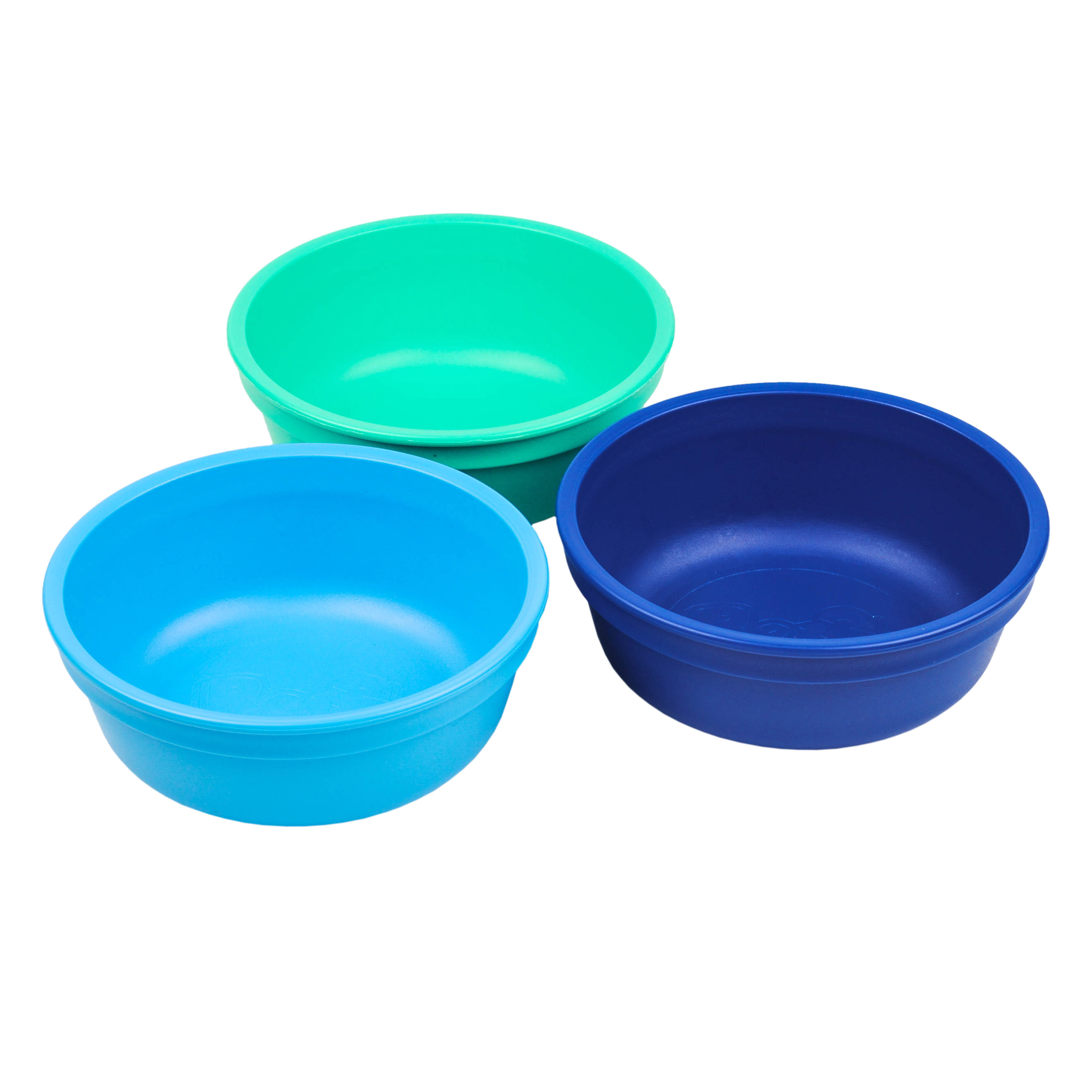 """Re-Play Made in The USA 3pk Toddler Feeding Deep Bowls for Easy Baby, Toddler and Child Meals - Sky Blue, Aqua, Navy Blue (True Blue, 5"""" bowl) Durable, Dependable and Tough Toddler Bowls!"""