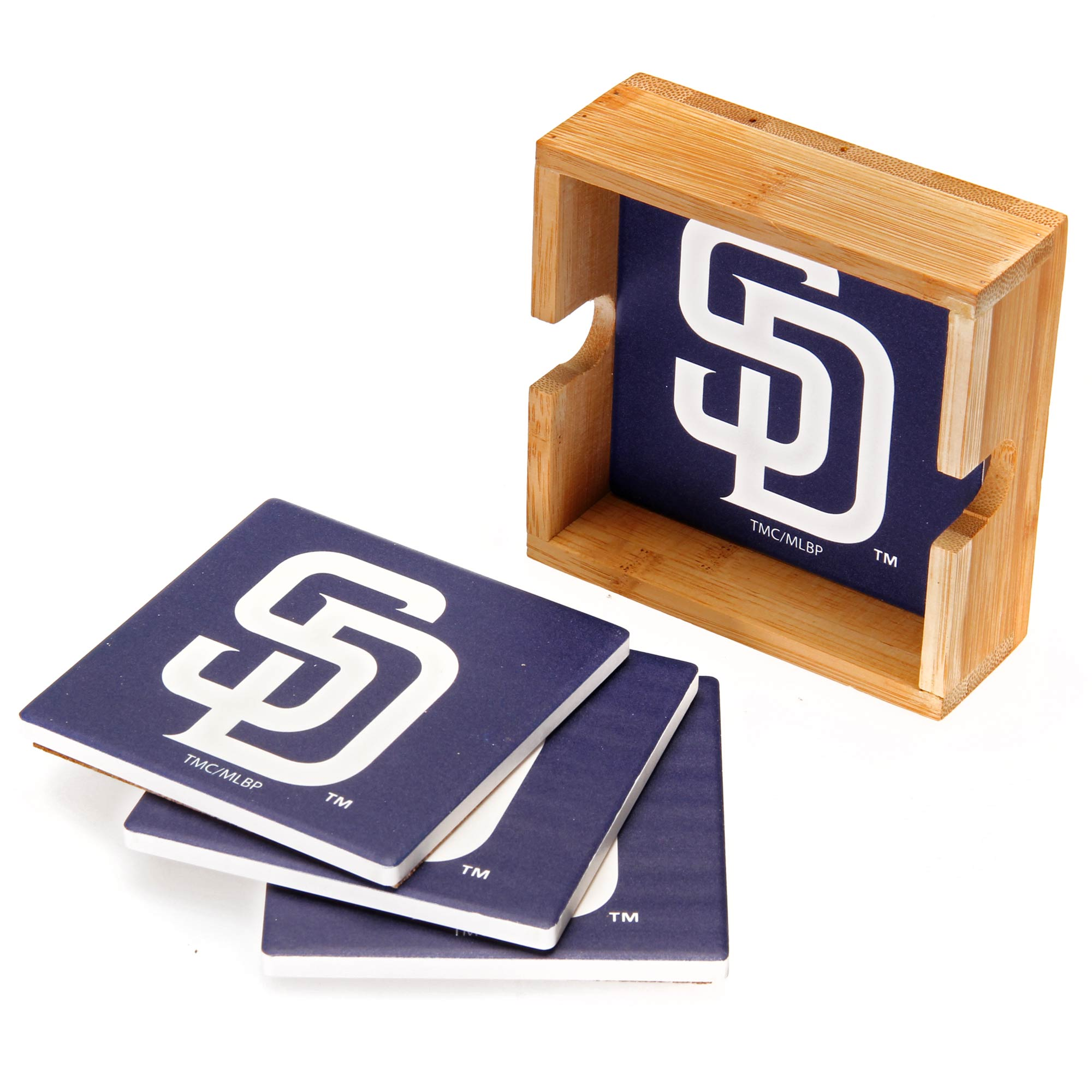 San Diego Padres 4-Pack Square Coaster Set with Caddy - No Size