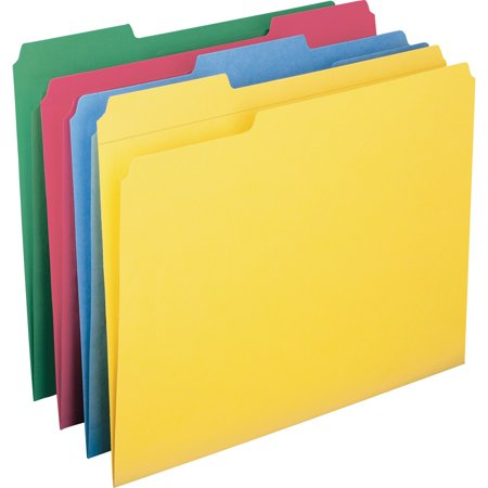 Colored File Folder - Smead, SMD11641, 1/3 Cut Colored Packaged File Folders, 12 / Pack, Blue,Green,Red,Yellow