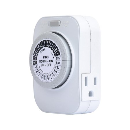 Lap Timer - 24 Hour Daily Timer with 2 Grounded Outlets, Hydroponics, Lamps, Appliances - 15 Amp