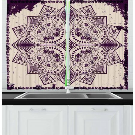 Purple Mandala Curtains 2 Panels Set, Snowflake Form Inspired Geometric Design on Grungy Background, Window Drapes for Living Room Bedroom, 55W X 39L Inches, Dark Purple and Eggshell, by Ambesonne