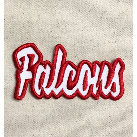 Falcons - White/Red - Team Mascot - Words/Names - Iron on Applique/Embroidered Patch