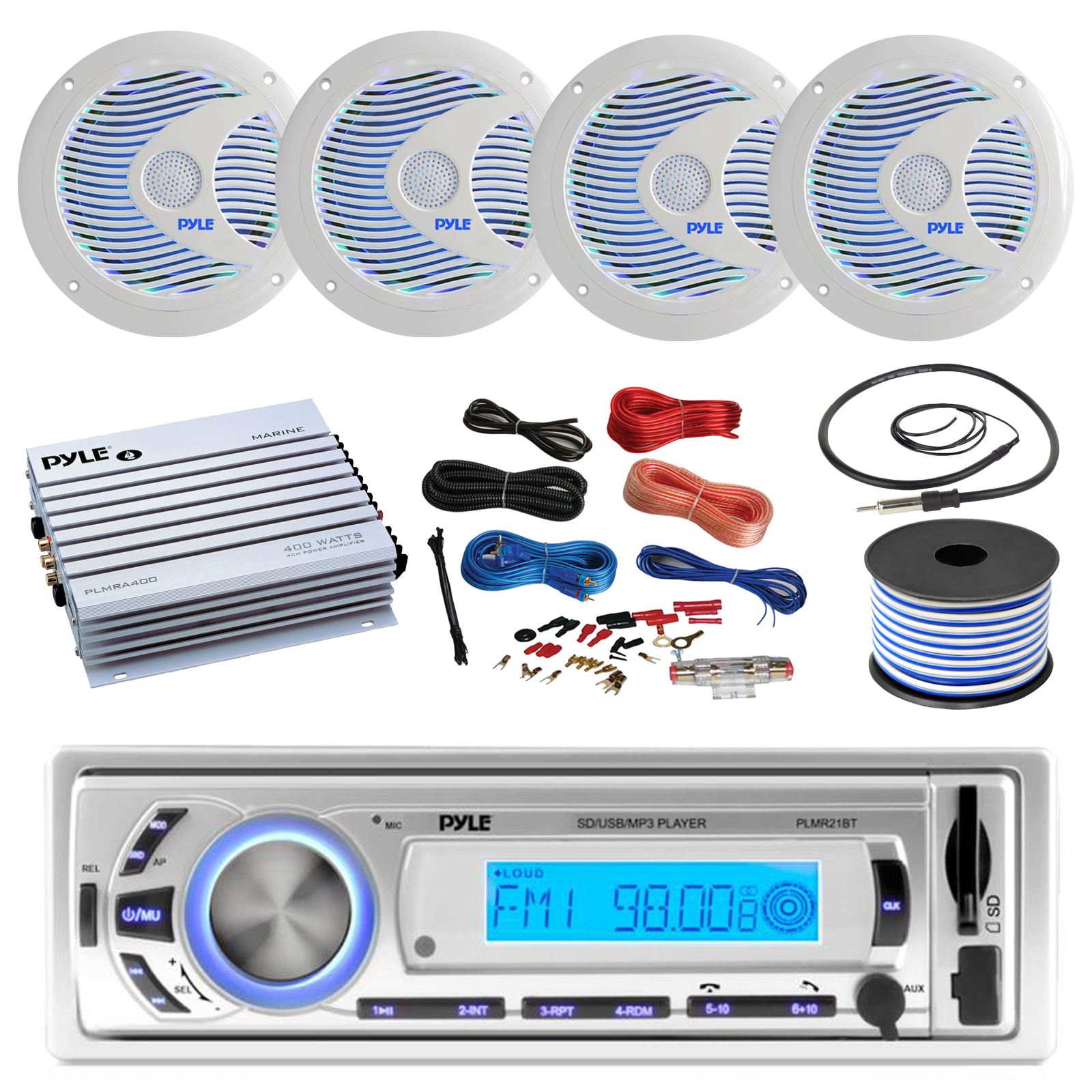 16-25' Bay Boat: Pyle Bluetooth Marine USB MP3 Stereo Receiver, 4 X Pyle 6.5'' Waterproof White Speakers w ... by Pyle