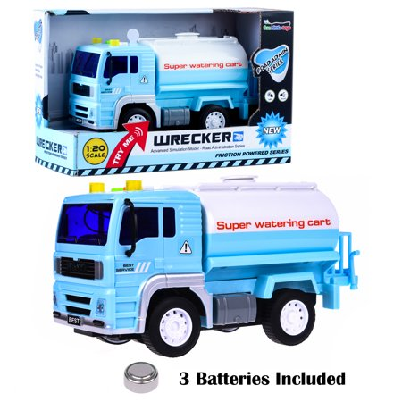 Watering Truck Car Toys Blue And White Wrecker Road Administration Car for Boys with Light and Music,friction power,Lights and Sound, Water Breaker,Simulation Model-Road,Administration Series F-71