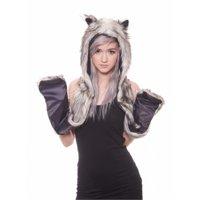 Faux Fur Black Wolf Animal Cosplay Costume Hoodie Halloween, One Size