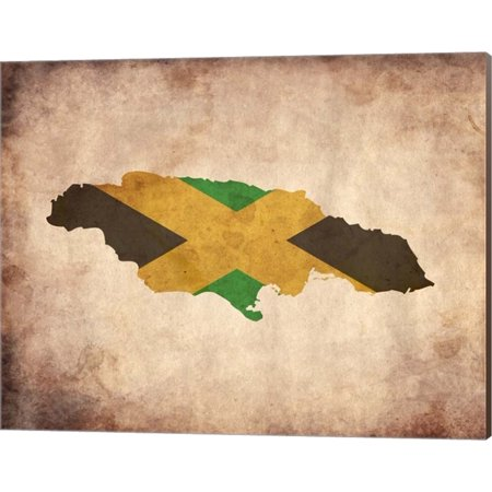 Great Art Now Map with Flag Overlay Jamaica by Color Me Happy Canvas Wall Art 20W x (Canvas Overlay)