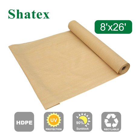 Shatex 90% Sun Shade Fabric, Sun-Block Net Mesh Shade with Clips for Pergola Cover Porch Vertical Screen 8x26ft, Beige ()
