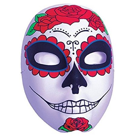 Blue Sugar Skull Adult Womens Halloween Mask With Red Roses (Halloween Sugar Skull Easy)