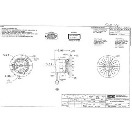 Pellet Stove Blower Motor, 1/60 hp, 3000 RPM, 0.3 amps. 115V Rotom # -