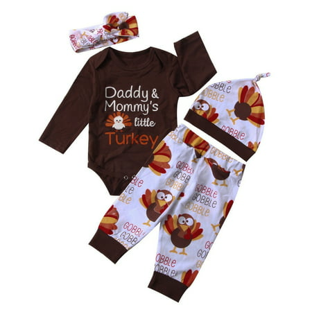Thanksgiving Newborn Baby Boy Girl Outfit Clothes Romper Pants Hat Headband Set