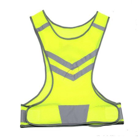 Reflective Safety Vest Luminous Mesh Waistcoat with Pocket for Night Running Cycling Color:Yellow