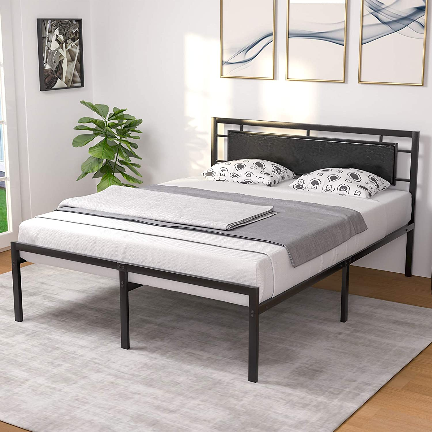 Mecor Queen Bed Frame With Black Faux Leather Headboard Vintage Metal Platform Mattress Foundation Strong Metal Slats Support No Box Spring Needed Black Queen Walmart Com Walmart Com