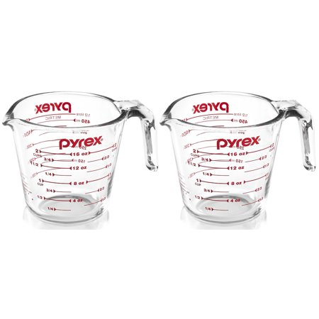 Pyrex Prepware 2-Cup Glass Measuring Cup, Clear with Red Measurements, Pack of 2 Cups
