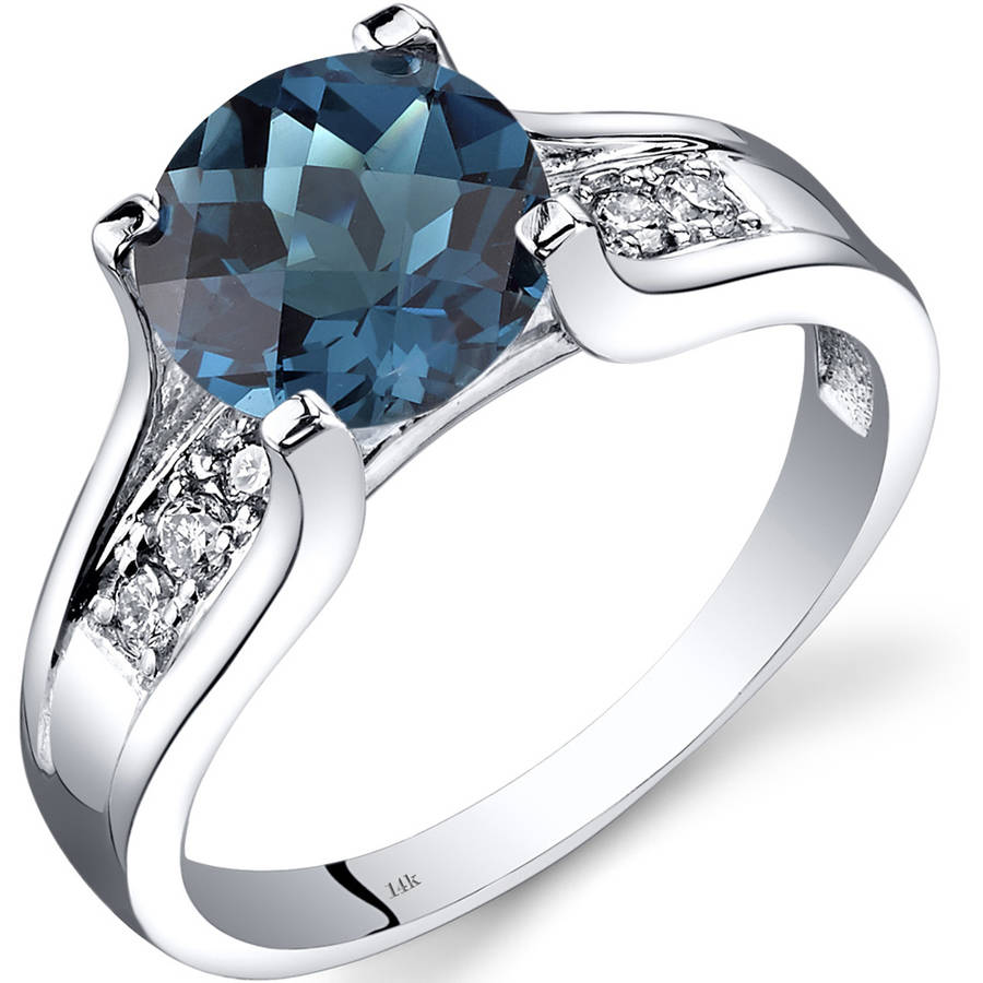 Oravo 2.25 Carat T.G.W. London Blue Topaz and Diamond Accent 14kt White Gold Ring by Oravo