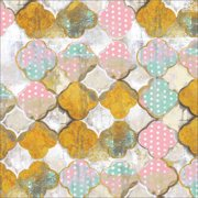 Abstract Polka Dot Quatrefoil Distressed Painting Pink & Gold Canvas Art by Pied Piper Creative