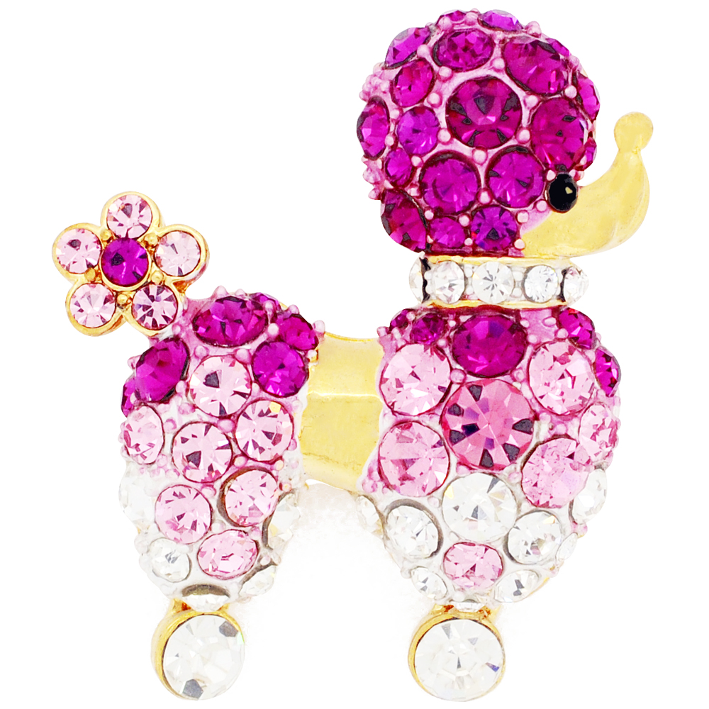 Fuchsia Pink Poodle Dog Crystal Pin Brooch by
