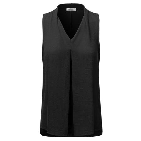 Doublju Women's Loose Fit Deep V-Neck Pleated Tank Blouse BLACK - Deep V-neck Tank