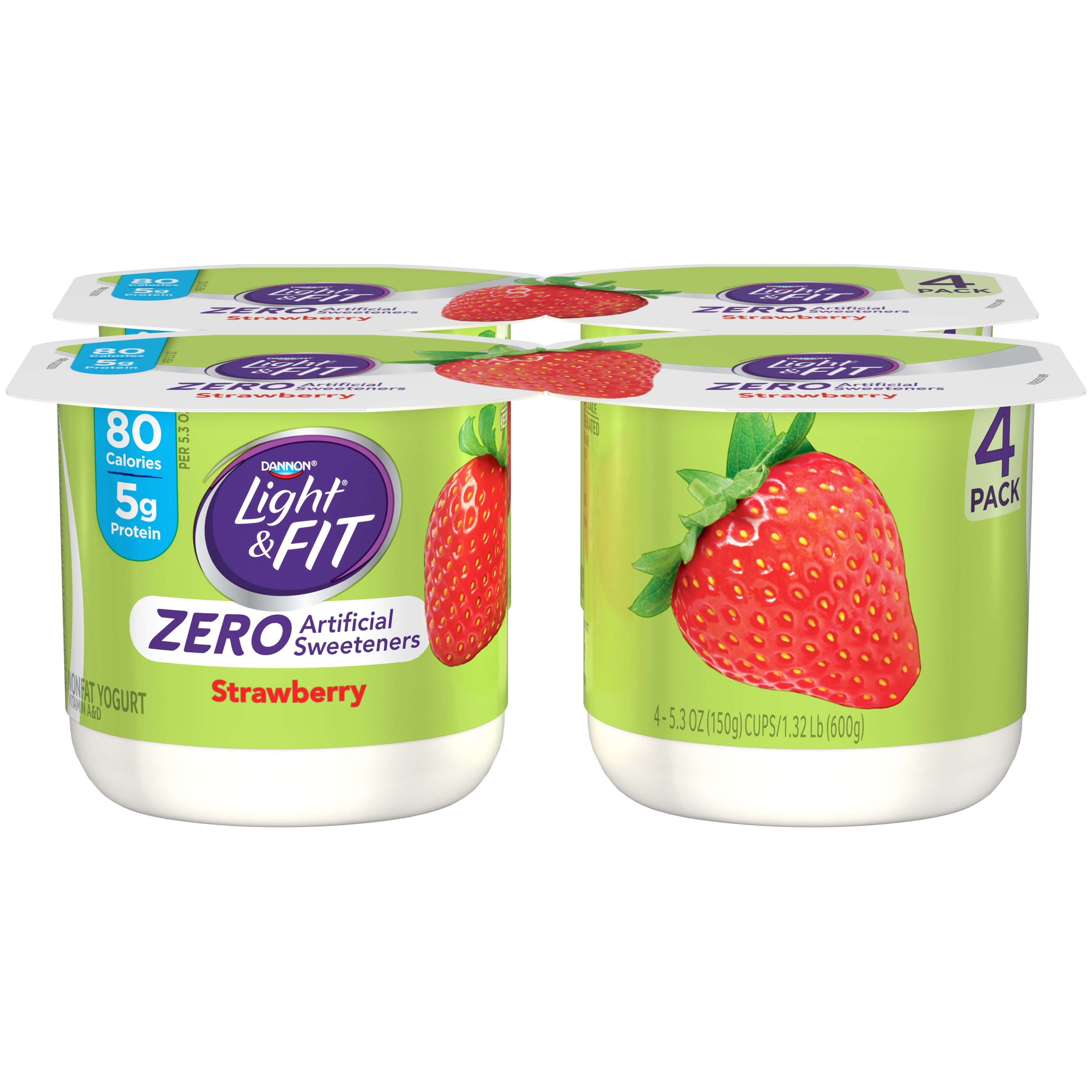 Dannon® Light & Fit® Regular Zero Artificial Sweeteners Nonfat Yogurt Strawberry 5.3oz 4pk