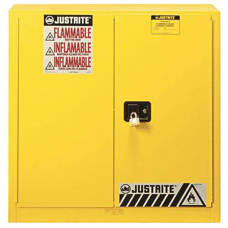 JUSTRITE 893300 Flammable Safety Cabinet, 30 gal., Yellow